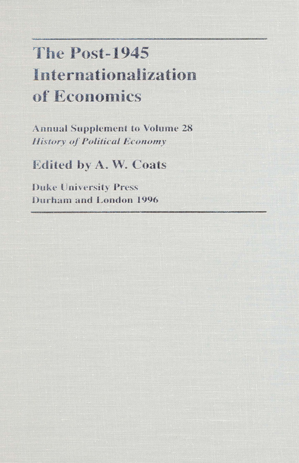 The Post-1945 Internationalization of Economics
