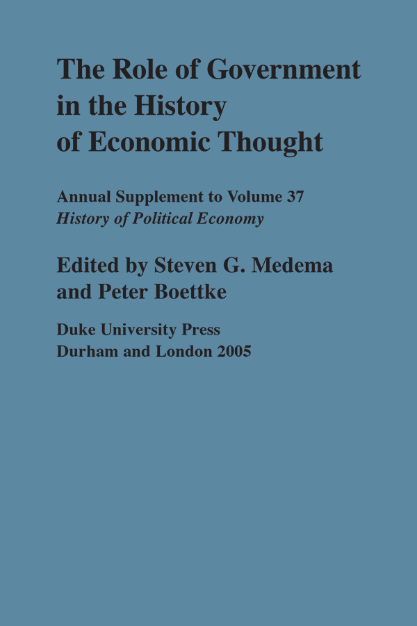 The Role of Government in the History of Economic Thought