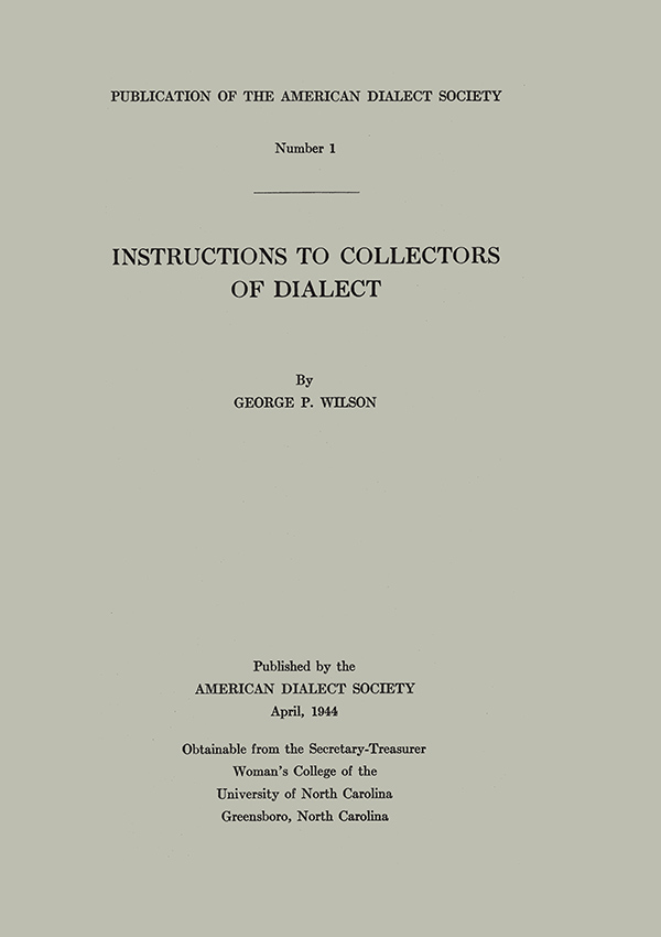 Instructions to Collectors of Dialect195