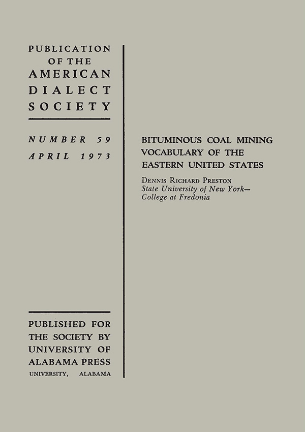 Bituminous Coal Mining Vocabulary of the Eastern United States485