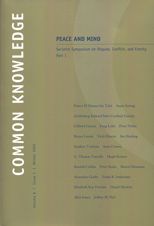 Common Knowledge (Inaugural issue marking return to publication)81