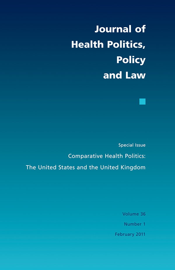 Cover of Journal of Health Politics, Policy and Law 36:1