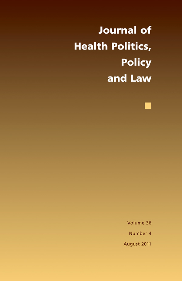 Journal of Health Politics, Policy and Law 36:4