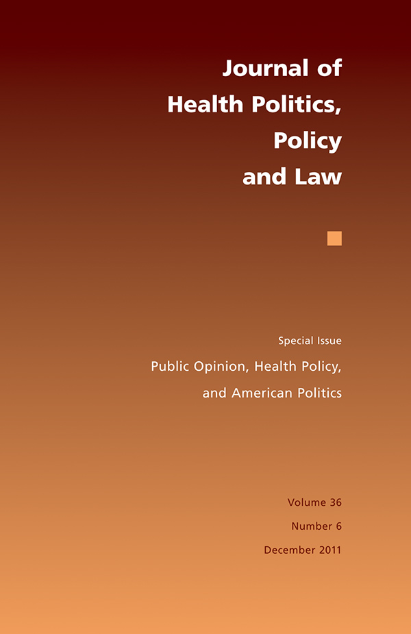 Cover of Journal of Health Politics, Policy and Law 36:6