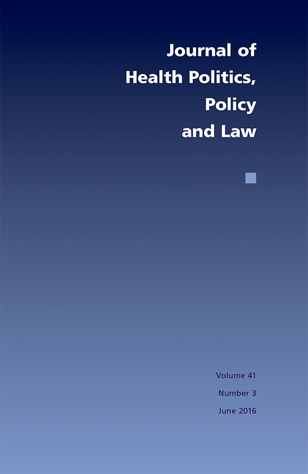 Cover of Journal of Health Politics, Policy and Law 41:3