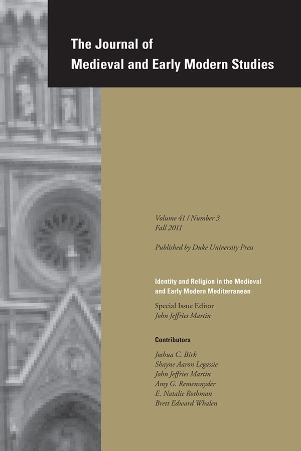Identity and Religion in the Medieval and Early Modern Mediterranean413
