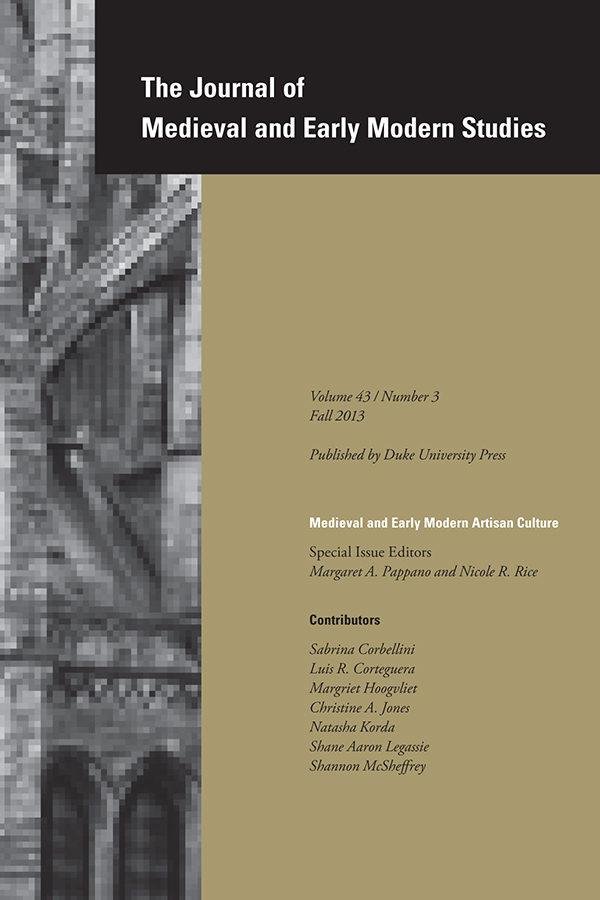 Medieval and Early Modern Artisan Culture