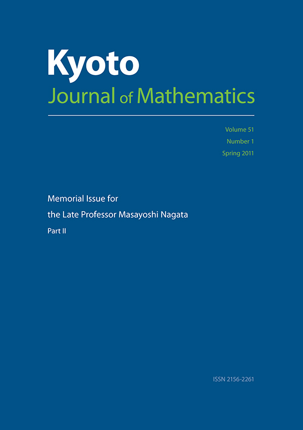 Memorial Issue for the Late Professor Masayoshi Nagata