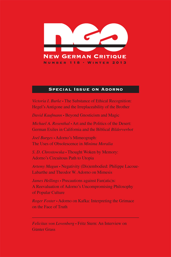 Special Issue on Adorno401