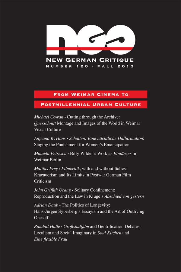 Special Issue on German Film: From Weimar Cinema to Post-Millennial Urban Culture403