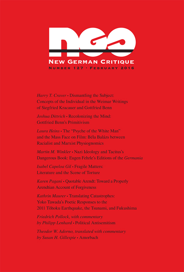 Cover of New German Critique 127